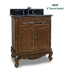 """Hardware Resources - Elements Bathroom Vanity - This 30-1/2"""" wide MDF vanity features carved floral onlays and French scrolled legs for a traditional feel. The Nutmeg finish adds depth to this vanity. A large cabinet provides ample storage. This vanity has a 2 cm black granite top preassembled with an H8809WH (15"""" x 12"""") bowl, cut for 8"""" faucet spread, and corresponding 2 cm x 4"""" tall backsplash. Overall Measurements: 30-1/2"""" x 20-1/4"""" x 35-1/2"""" (measurements taken from the widest point) - Faucet must be purchased separately."""
