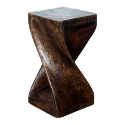 Kammika - Twist Stool Sust Wood 10x 10 x 18 inch Ht w Eco Friendly Livos Mocha Oil Finish - Our Sustainable Wood Twist Stool 10 inches square by 18 inches high with Eco Friendly, Natural Livos Mocha Oil Finish is hand carved from sustainable wood and completely eco-friendly. The beauty of this design lies in its simplicity.  It is bold, yet gentle, rustic yet refined.  One quarter twists support this elegant piece, which can serve as an end table, display stand, or stool. Each is hand carved from a single piece of sustainable Monkey Pod wood and finished with Eco Friendly, Natural Livos Mocha Oil comprised of translucent Eco Friendly Natural, Food-safe Livos Black Oil over Eco Friendly Natural, Food-safe Livos Chestnut Oil creating a dark Mocha finish where the wood color and grain shows through in brown tones. This is then polished to a matte, highly water resistant and food safe finish. These natural oils are translucent so the wood grain detail is highlighted. Color ranges from mocha to dark brown to black tones. There is no oily feel and cannot bleed into carpets as it contains natural lacs. Made from the thick branches of the quick-growing Acacia tree in Thailand - where each branch is cut and carved to order (allowing the tree to continue growing), these works of art are designed for use stand alone or in groups. After each Eco Friendly Functional Art piece is carved, kiln dried, sanded, and hand rubbed with Livos eco friendly all natural oil, they are packaged with cartons from recycled cardboard with no plastic or other fillers. As this is a natural product, the color and grain of your piece of sustainable wood functional art with eco friendly finish will be completely unique, and may include small checks or cracks that occur when the wood is dried. Sizes are approximate. Products could have visible marks from tools used, patches from small repairs, knot holes, natural inclusions, and/or worm holes. There may be various separations or cracks on your piece when it arrives. There may be some slight variation in size, color, texture, and finish color.Only listed product included.
