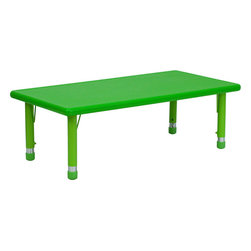 Flash Furniture - Height Adjustable Rectangular Green Plastic Activity Table - Every kid needs a space for creativity, and this rectangular table is the perfect spot for inspired art projects. With adjustable steel legs, this colorful table can grow with your child.