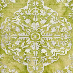 Jaipur - Contemporary Heritage 8'x11' Rectangle Green-Green Area Rug - The Heritage area rug Collection offers an affordable assortment of Contemporary stylings. Heritage features a blend of natural Green-Green color. Hand Knotted of Wool & Art Silk the Heritage Collection is an intriguing compliment to any decor.
