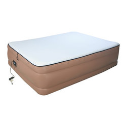 None - Airtek Raised Memory Foam Queen-size Air Bed With Built-in Pump - Offer your guests a restful night's sleep on this comfortable queen-size air bed. In just four minutes, the bed can be inflated using the integrated pump. A comfort control allows sleepers to change the firmness or softness of the bed.