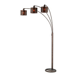 """Cal Lighting - Arts and Crafts - Mission Three Light Arc Rust Floor Lamp - Illuminate and style your home with this modern floor lamp design. This lamp features a rust finish and three arched arms with three very unique and contemporary mica shades. Place this floor lamp next to your favorite reading chair for functional style. Rust finish. Three mica shades. Takes three 60 watt bulbs (not included). Three-way pole switch. 91"""" high. Base 14"""" wide.  Rust finish.  Three mica shades.  Takes three 60 watt bulbs (not included).  Three-way pole switch.  A stylish floor lamp design from Cal Lighting.  91"""" high.  Base 14"""" wide.  82"""" to bottom of shade."""