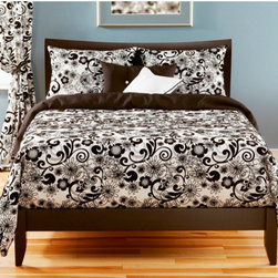 Siscovers - Efflorescence Black and White Six Piece Queen Duvet Set - - Flocked texture  - Set Includes: Duvet - 94x98, Two Queen Shams - 30x20, One Decorative Pillow - 16x16, One Decorative Pillow - 26x14  - Inserts: Polyester  - Duvet Material: 87% Cotton 13% Nylon  - Sham Material: 100% Polyester  - Pillow Material: 100% Polyester  - Workmanship and materials for the life of the product. SIScovers cannot be responsible for normal fabric wear, sun damage, or damage caused by misuse  - Reversible Duvet and Shams  - Care Instructions: Dry Clean Only  - Made in USA of Fabric made in China Siscovers - EFFL-XDUQN6