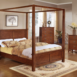 None - Sunny Poster Bed 5-piece Set - Add a romantic touch to any bedroom with this classic five piece furniture set. This set features a dramatic four poster bed,as well as charming brown wood nightstands,a dresser and a mirror.