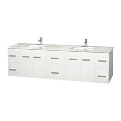 Wyndham Collection - Centra Bathroom Vanity in White,White  Carrera Counter,UM Sinks,No Mirror - Simplicity and elegance combine in the perfect lines of the Centra vanity by the Wyndham Collection. If cutting-edge contemporary design is your style then the Centra vanity is for you - modern, chic and built to last a lifetime. Available with green glass, pure white man-made stone, ivory marble or white carrera marble counters, with stunning vessel or undermount sink(s) and matching mirror(s). Featuring soft close door hinges, drawer glides, and meticulously finished with brushed chrome hardware. The attention to detail on this beautiful vanity is second to none.