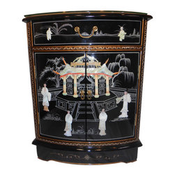 "Oriental Furnishings - Round Front Mother Of Pearl Shoe Cabinet - Our 30 inch high Oriental shoe cabinet with shiny black lacquer inlaid mother of pearl is a good choice as a focal point. This chest has one felt lined drawer and one removable shelf. Other features are brass hardware on doors and a glass top. Solid wood construction measures 24 X 14 X 30 inches high. The sides of this chest are 12"" deep and 14"" deep in the center, which is useful in a tightly spaced room."