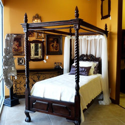 """Feminine Canopy Bed - Twin Size - Beautifully detailed wood canopy bed perfect for a girl's room or small guest room. Rails are included for easy hanging of drapery panels/fabric as shown. (mattresses, bedding, and drapery are not included) Twin Size: 45-3/4""""W x 85""""L x 85""""Tall (to top of poster above canopy)"""