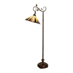 Dale Tiffany - Dale Tiffany TF90263 Ripley Tiffany Downbridge Floor Lamp - Shade: Hand Rolled Art Glass