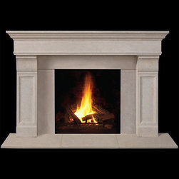 Milford Stone Fireplace Mantel - Geometric and precise, the Milford stone mantel is a stylish and contemporary fireplace surround. With minimalistic charm, the neutral stone hues would look good just about anywhere.