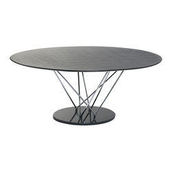 """Euro Style - Stacy Oval Dining Table - This table makes a statement and it goes like this: """"I am strong, modern, built to last and I'm virtually indestructible"""".  It's true.  With a marble base and black veneered top this table boasts a chromed steel infrastructure that is a marvel of sturdiness and style."""
