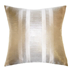 Square Feathers - Brillante Pillow, Bars Pillow - Shine and texture in one glamorous pillow? Sold. The subtle stripe pattern and glowing hue would easily mix and match with most any of your pillow palettes.