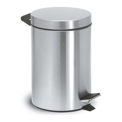Blomus - Nexio Stainless Steel Pedal Small Waste Can - Removable bucket included. Made of stainless steel. 1-Year manufacturer's defect warranty. Capacity: 2.5L (.66 gallon). 6.9 in. Dia. x 10.07 in. H