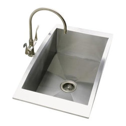 KOHLER - KOHLER K-3153-NA Swerve Single-Basin Self-Rimming Kitchen Sink in Stainless Stee - KOHLER K-3153-NA Swerve Single-Basin Self-Rimming Kitchen Sink in Stainless SteelSwerve offers a distinctive new stainless steel kitchen sink design. This sink has 14-gauge sidewalls and a 12-gauge single-basin bottom that features SilentShield(R) Plus, an exclusive sound-absorption system that reduces disposal noise and vibration from dishes and running water for quiet performance.