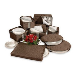 Richards Homewares, Inc. - Brown Microfiber 8-Piece China Storage Set - Store your best china safely with this 100% microfiber china storage set. The microfiber fabric is soft and quilted, making it extra durable and resistant to any dirt or dust that may collect over months or years of storing.