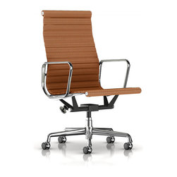 Herman Miller - Herman Miller Eames Aluminum Executive Chair - Fabric - In this commanding office chair, you get the feeling you're sitting tall in a boardroom. It features a slightly curved seating area, plus the high backrest also provides support for your shoulders.