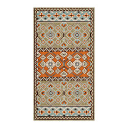 "Safavieh - Taroudant Indoor/Outdoor Rug, Green/Terracotta 2'3"" X 8' - Construction Method: Power Loomed. Country of Origin: Turkey. Care Instructions: Easy To Clean. Just Rinse With A Garden Hose. Coordinate indoor and outdoor spaces with pretty and practical area rugs from the Veranda collection in designs from mod florals to traditional classics. Power loomed of enhanced polypropylene for easy care whether used on you patio or family room floors, the large loop texture and soft hand of Veranda rugs belie their superb resistance to wear and weather."