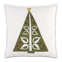 Eastern Accents - North Pole O Christmas Tree Decorative Pillow - Features: -Collection: North Pole. -Block printed. -Knife edge finishing. -Zipper closure for easy care. -Down pillow insert. -Made in USA. -Due to the handcrafted nature of this item, slight imperfections and inconsistencies may occur in block printed products.