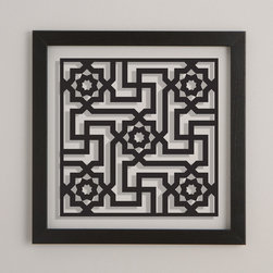"""Sakina Design - Alhambra - This contemporary geometric design is inspired by architectural elements decorating the interior of the """"Court of the Lions"""" in the famed Alhambra Palace. Built in the 14th century, this palace epitomizes Muslim Spain, a bridge between East and West, and an example of tolerance, where Jews, Christians and Muslims lived together in peace."""