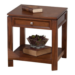 Jofran - Jofran Bowie End Table with Drawer and Shelf in Merlot - Solid Asian hardwood and birch veneer. Hidden storage in cocktail table.