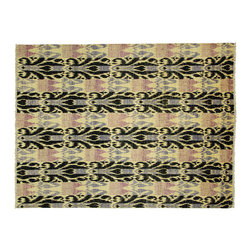 Manhattan Rugs - New Beautiful Modern Ikat Area Rug 8'x10' Hand Knotted Ivory/Black Wool - MC104 - This is a true hand knotted oriental rug. it is not hand tufted with backing, not hooked or machine made. our entire inventory is made of hand knotted rugs. (all we do is hand knotted)