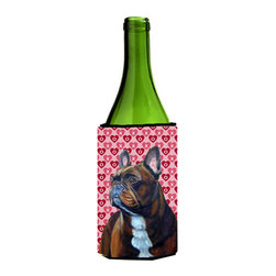 Caroline's Treasures - French Bulldog Hearts Love Valentine's Day Portrait Wine Bottle Koozie Hugger - French Bulldog Hearts Love and Valentine's Day Portrait Wine Bottle Koozie Hugger LH9160LITERK Fits 750 ml. wine or other beverage bottles. Fits 24 oz. cans or pint bottles. Great collapsible koozie for large cans of beer, Energy Drinks or large Iced Tea beverages. Great to keep track of your beverage and add a bit of flair to a gathering. Wash the hugger in your washing machine. Design will not come off.