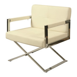 Pastel Furniture - Pastel Furniture Decumani Club Chair X-879-HC-171-UD - The Decumani club chair in a smart and modern design blends quality, value, style as well as comfort to any room. This chair is upholstered in Pu Ivory with chrome frame adding not only a stylish look but modern appeal as well.