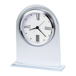 Howard Miller - Howard Miller Regent Alarm Clock - Howard Miller - Alarm Clocks - 645579 - This modern contemporary alarm clock has a smooth yet emphatic stylishness to it and will be an attractive addition for the bedside. Distinguished by its beveled glass arch frame matching glass base and white dial with polished silver bezel the Regent has a smart updated vibe to it. Battery-operated quartz alarm movement completes the appeal of the Regent Alarm Clock.