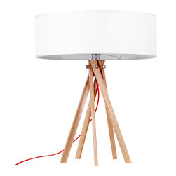 ParrotUncle - Multi-leg Nordic Style Wood Table Lamp With White Drum Shade - Bring an aura of simple design but stylish to your favorite contemporary setting. This multi-leg table lamp is with large drum shade which will helps the light spread all of your living room or bedroom.