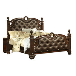 Homelegance - Homelegance Orleans Poster Bed w/ Dark Brown Leather in Rich Cherry - Queen - The grandeur of Old World Europe is flawlessly executed in the Orleans Collection. Acanthus leaf carvings feature prominently and blend with elegantly appointed moldings on each piece of this stately bedroom. Wreath accents lend dramatic flair to the bed and mirror as does the sculpted lion's foot base, supporting each of the case pieces. Heavy pilasters rise with and are topped with carved finials on the tufted dark brown bonded leather headboard and footboard. A rich cherry finish with goldKitchen & Dining/Kitchen Textiles0Kitchen & Dining/Kitchen