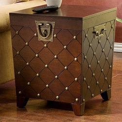 Upton Home - Nailhead Espresso End Table Trunk - This end table is a steal and the perfect gift for any interior-design enthusiast. It even doubles as storage.