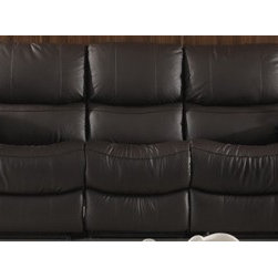 Samanta Italian Leather Reclining Sofa - Relax into the comfort of supple 100% genuine top grade Italian leather and comfortable cushioned seating. Lean back and recline with the smooth action recliners in the Samanta Italian Leather Reclining Sofa, a perfect addition to your upscale living room decor.