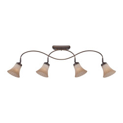 Quoizel - Quoizel ALZ1404PN Aliza Ceiling Track Light - Aliza is elegant and stylish a beautiful collection for todays home.  Featuring sleek oval tubing and a versatile Palladian Bronze finish, this collection compliments any decor with trumpeted fluted glass in a soft gradient amber mist.