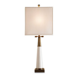 Currey & Company - Signature Table Lamp - Transitional table lamp accentuated by unique brass fittings. The square shade completes the distinct look.