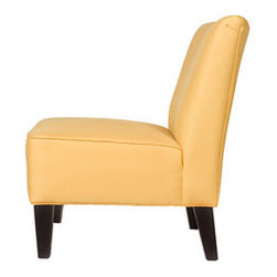 Golden Yellow Armless Chair - Some rooms are just begging for a shot of yellow. The neutral shape keeps the color from feeling too bold and lets it fit into any style of room.