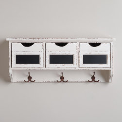 3-Slot Hook Wall Cubby - I love the top drawers for holding all sorts of miscellaneous items, and the hooks would be perfect for reusable shopping bags. Plus, the white antiqued finish is great.