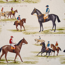 Horse racing fabric race jockey document print - A horse racing fabric done as a document print! A jockey horse race fabric! We see many equestrian fabrics, but this is one of the better horse race fabrics we have seen!