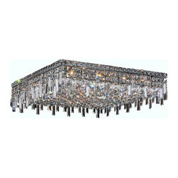 "Worldwide Lighting - Cascade 13 Light Chrome Finish Crystal 24"" Square Ceiling Light - This stunning 13-light Ceiling Light only uses the best quality material and workmanship ensuring a beautiful heirloom quality piece. Featuring a radiant chrome finish and finely cut premium grade crystals with a lead content of 30%, this elegant ceiling light will give any room sparkle and glamour. Worldwide Lighting Corporation is a privately owned manufacturer of high quality crystal chandeliers, pendants, surface mounts, sconces and custom decorative lighting products for the residential, hospitality and commercial building markets. Our high quality crystals meet all standards of perfection, possessing lead oxide of 30% that is above industry standards and can be seen in prestigious homes, hotels, restaurants, casinos, and churches across the country. Our mission is to enhance your lighting needs with exceptional quality fixtures at a reasonable price."