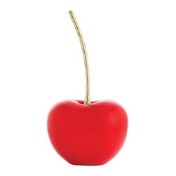 Arteriors - Geordi Large Sculpture, Red - These cherries in lacquer with a bright brass etched stem are great stand-alone sculptures on your dining table or kitchen island... or sitting on top of a stack of books on your coffee table.