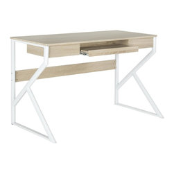 Safavieh - Bryant Computer Desk - Whimsical and ultra-contemporary, the Bryant computer desk has a quirky shape to its white powder coated iron legs. Contrasted with a natural grained top, this versatile desk has a pullout keyboard drawer designed for ergonomic comfort.
