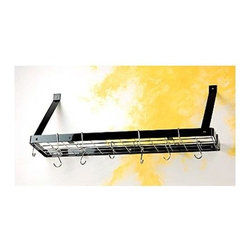 Rogar - Bookshelf Pot Rack in Black w Chrome Hooks - Perfect where there is no space for a hanging rack. Pans, etc can be hung from grid and cookbooks/decorative items store on top of grid. Includes 6 Eye and 2 Grid Hooks. Black w Chrome accessories. 35 in. L x 8.5 in. W x 13 in. H (8 lbs.)