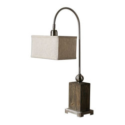 Uttermost - Abilene Wooden Accent Lamp - Aged wood with a light gray wash, brushed nickel plated details and a pivoting shade.