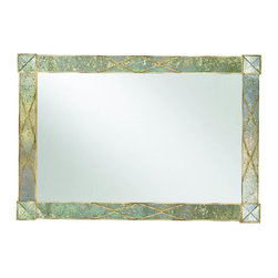 Hooker Furniture - Dune Landscape X Frame Mirror - 58W x 40H in. Multicolor - 3002-50004 - Shop for Mirrors from Hayneedle.com! Interesting and nuanced with the look of an abalone shell the Dune Landscape X Frame Mirror brings a feeling of calm and depth to your space. Reflective and serene this mirror is timeless in style. The X-motif frames the corners and the dune finish shines in the light. Hang this transitional piece in your home and watch the compliments roll in.Not available for sale in or delivery to the state of California.About Hooker Furniture CorporationFor 83 years Hooker Furniture Corporation has produced high-quality innovative home furnishings that seamlessly combine function and elegance. Today Hooker is one of the nation's premier manufacturers and importers of furniture and seeks to enrich the lives of customers with beautiful trouble-free home furnishings. The Martinsville Virginia based company specializes in lifestyle driven furnishings like entertainment centers home office furniture accent tables and chairs.Construction of Hooker FurnitureHooker Furniture chooses solid woods and select wood veneers over wood frames to construct their high-quality pieces. By using wood veneer pieces can be given a decorative look that can't be achieved with the use of solid wood alone. The veneers add beautiful accents of color and design to the pieces and are placed over engineered wood product for strength. All Hooker wood veneers are made from renewable resources and are located primarily on the flat surfaces of the furniture such as the case tops and sides.Each Hooker furniture piece is finished using up to 30 different steps including 13 steps of hand-sanding and accenting. Physical distressing is done by hand. Pieces receive two to three coats of solid lacquer to create extra depth and add durability to the finish. Each case frame is assembled using strong mortise-and-tenon joints which are then reinforced by mechanical fasteners and glue. On most desig