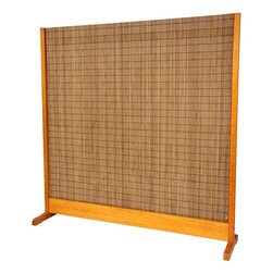 Oriental Furniture - 6 1/4 ft. Tall Take Room Divider - Honey - This simple, sophisticated room divider is equally suited to the home or office. Constructed primarily from woven bamboo slats and mounted in a spruce frame with a warm honey finish, it combines natural, traditional materials into a sleek, contemporary design. Perfect for dividing a space without obstructing light or air, this divider will make a functional and stylish impact on your decor.