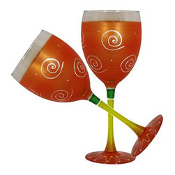 Frosted Curl Orange Wine Glasses  Set of 2 - This lovely hand painted wine glass is one of our top sellers.  It is orange with accent colors and adorned with curls and dots.  Perfect for any season or occasion.  Something to be handed down from generation to generation.  Proudly hand painted in the USA.