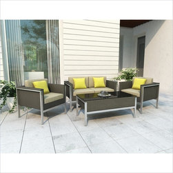 Sonax Lakeside 4 Piece Patio Set in River Rock Weave - Make the most of the season with the angled glossy frames of the Lakeside collection bringing an edgy cool to your hot summer nights. Sink into the chair or the sofa, put your drinks on the coffee table and spend your days in fashionable comfort. Each piece is made with UV resistant River Rock resin rattan wicker adding a smooth look to the stylish aluminum frame and piano black glass tabletop. Ready to enjoy upon delivery, lightweight Sonax patio furniture liberates your inner designer to change your patio as often as you like.
