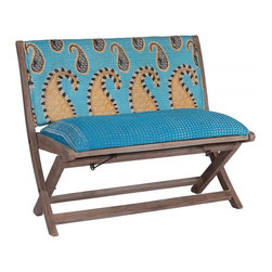 Modelli Creations - One Of A Kind Kantha Bench With Blue Paisley Print - This bench is made of shesham wood and folds for easy stow away. Upholstered with beautiful kantha fabric this bench will add interest and color to any space