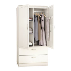 South Shore - South Shore Acapella Transitional Style Wardrobe Armoire in Pure White - South Shore - Wardrobe Armoires - 5350038 - This Acapella Wardrobe in Pure White is a great addition for any room that requires more storage spaces whether it's in the entryway the bedroom or even the family room. Its framed doors streamlined drawers and elegant nickel finish metal handles will give you a transitional style that fits to any decor.