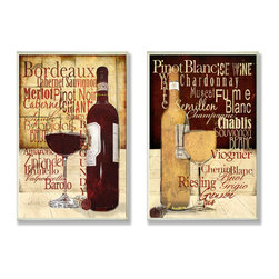 Stupell Industries - Red and White Wine Typography Kitchen Wall Plaque Duo - Treat your home to some style with one this decorative wooden wall plaques.    It is produced on sturdy half-inch thick MDF wood, and comes with a saw tooth hanger on the back for instant use.  The sides are hand finished and painted so a perfect crisp look.  MADE IN USA.