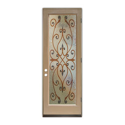 Sans Soucie Art Glass (door frame material Plastpro) - Glass Front Entry Door Sans Soucie Art Glass Corazones 3D in Color - Sans Soucie Art Glass Front Door with Sandblast Etched Glass Design. Get the privacy you need without blocking light, thru beautiful works of etched glass art by Sans Soucie!  This glass is semi-private.  (Photo is view from outside the home or building.)  Door material will be unfinished, ready for paint or stain.  Bronze Sill, Sweep and Hinges. Available in other finishes, sizes, swing directions and door materials.  Tempered Safety Glass.  Cleaning is the same as regular clear glass. Use glass cleaner and a soft cloth.
