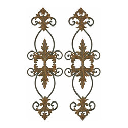 Uttermost - Lacole Rustic Metal Wall Art, Set of 2 - Aged black metal scrollwork and rusted brown floral and acanthus leaves come together for a romantic duet of rustic wall art. Use them together to flank a mirror in the foyer or separate them as door or mantle toppers in your living room.